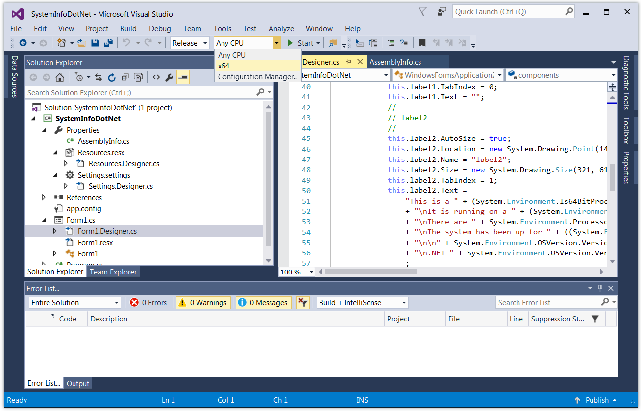 Activate the x64 Configuration in Visual Studio