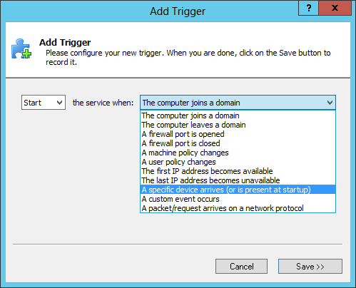 Add a Device Arrival Trigger