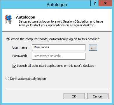 Autologon with AlwaysUp to avoid Session 0 Isolation
