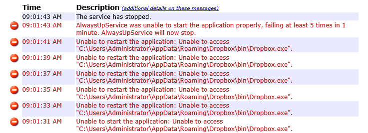 AlwaysUp fails to start Dropbox