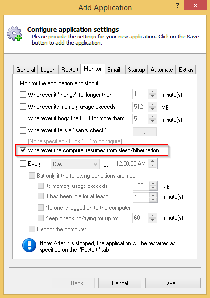 alwaysup 8 7 restart your application when the pc resumes