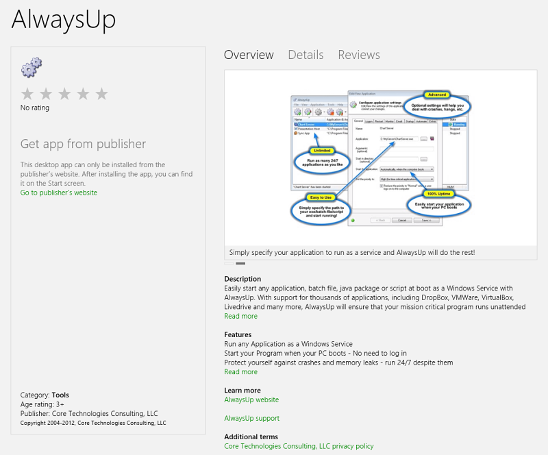 AlwaysUp in the Windows 8 Store