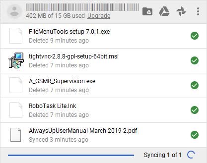 Backup and Sync tray icon activity