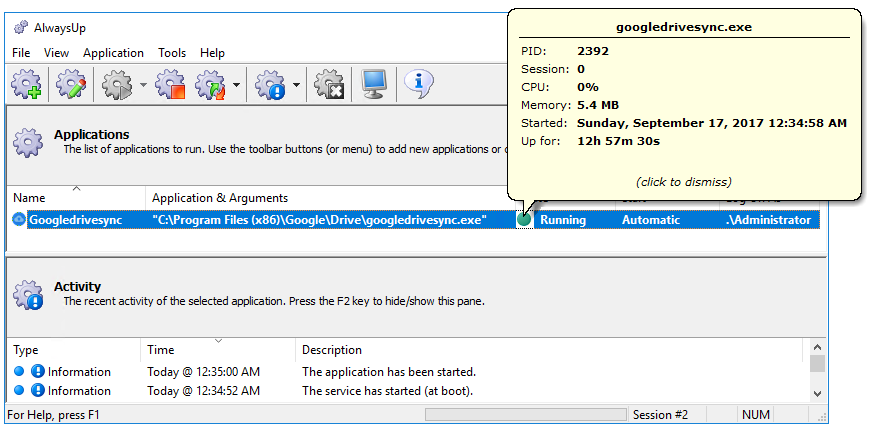 Backup and Sync Windows Service in AlwaysUp