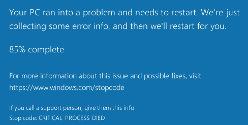Blue screen of Death: A critical process died