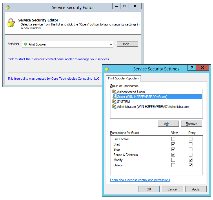 Change your Windows Service Access Rights with Service Security Editor