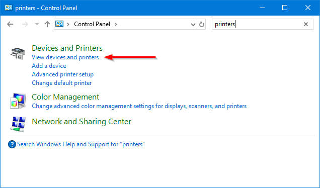 Find printers in Control Panel