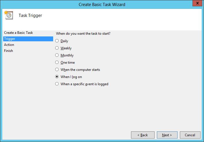 Create Basic Task: Trigger at Logon