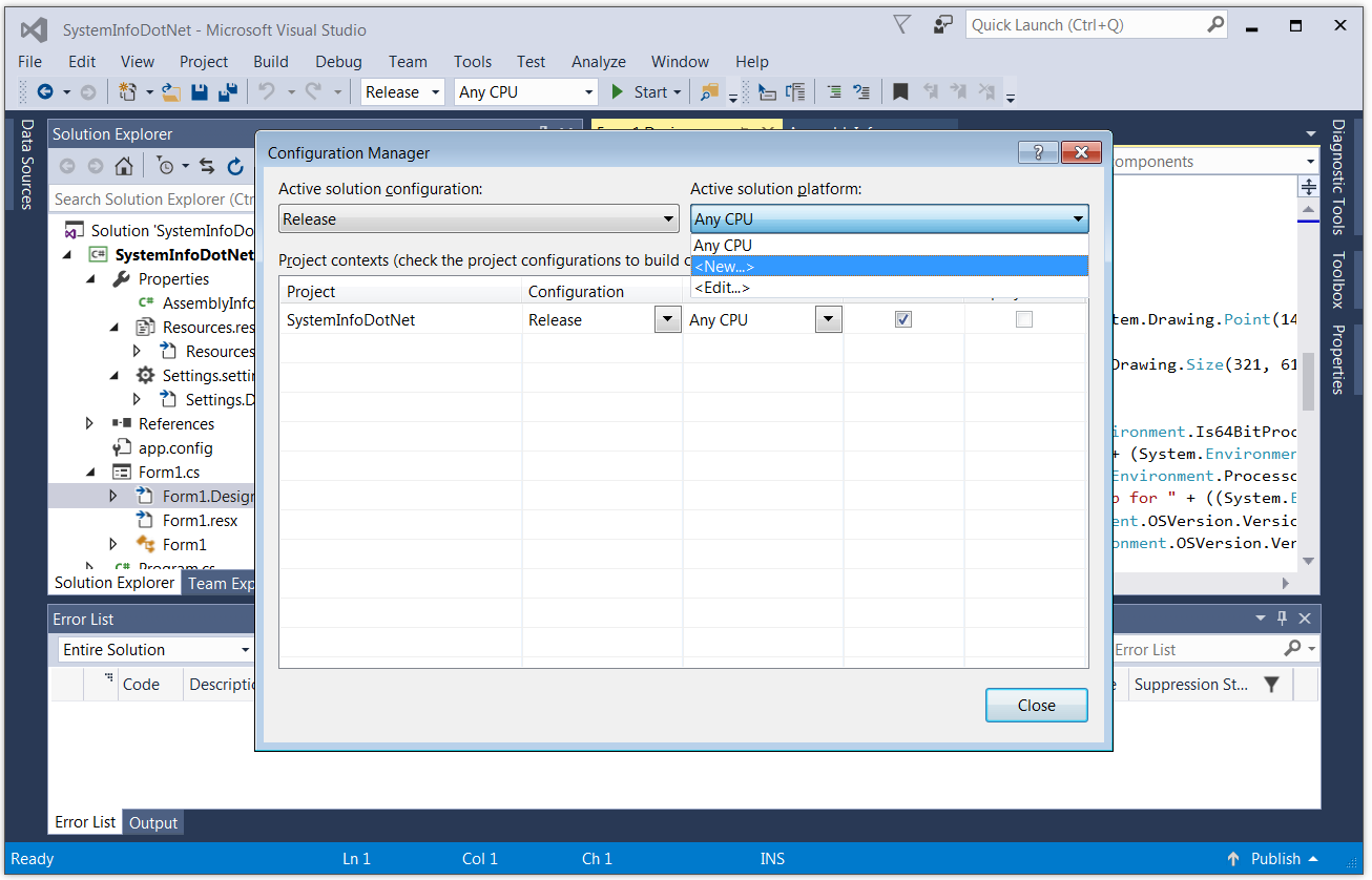 Create a New Visual Studio Configuration