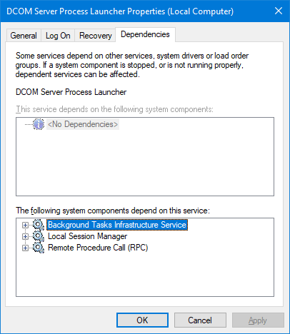DcomLaunch service dependencies