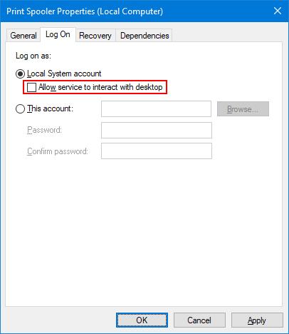 Un-check interact with desktop