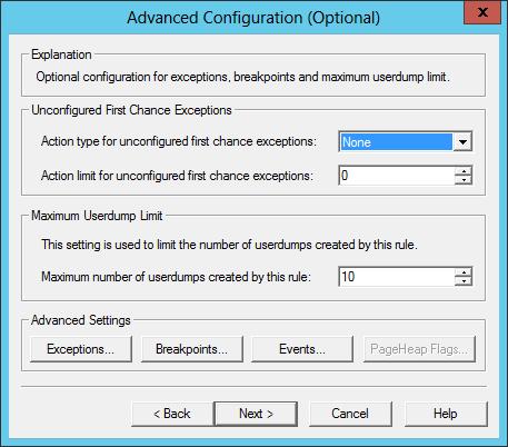 DebugDiag: Windows Service Advanced Configuration