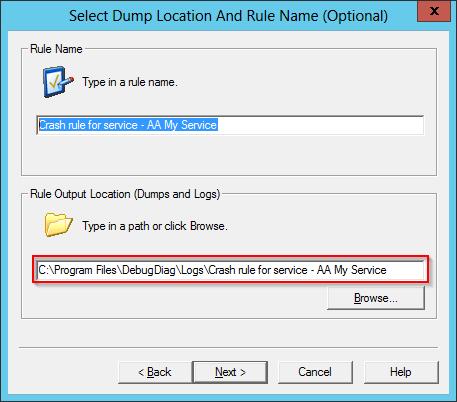 DebugDiag: Windows Service Dump Location