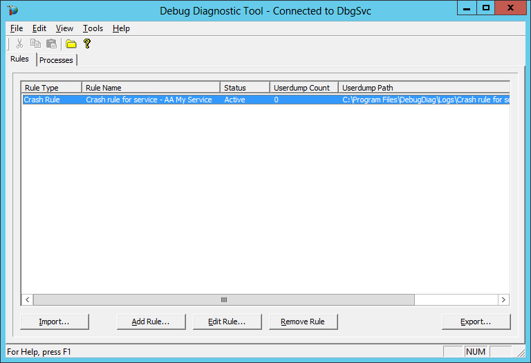 DebugDiag: Windows Service Rule Created