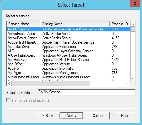 DebugDiag: Select Windows Service