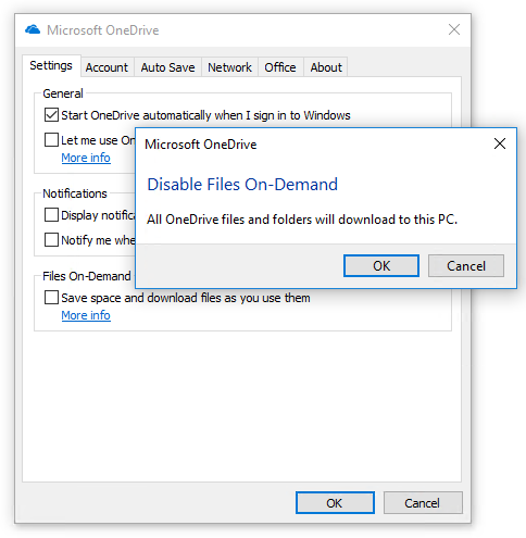 Disable OneDrive Files On-Demand