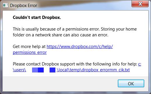 Dropbox Permissions Error