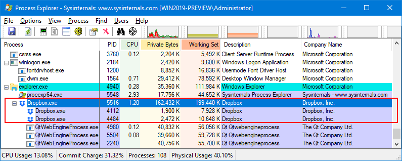 Dropbox Processes in Process Explorer