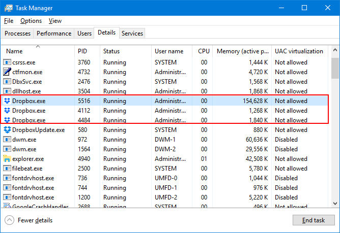 Dropbox processes in Task Manager
