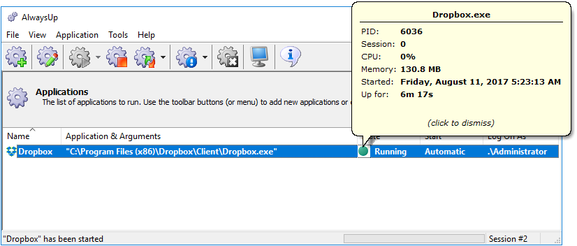 Dropbox running as a windows service with AlwaysUp