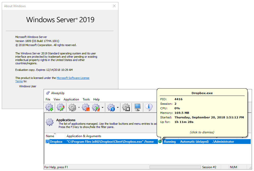 AlwaysUp running Dropbox on Server 2019