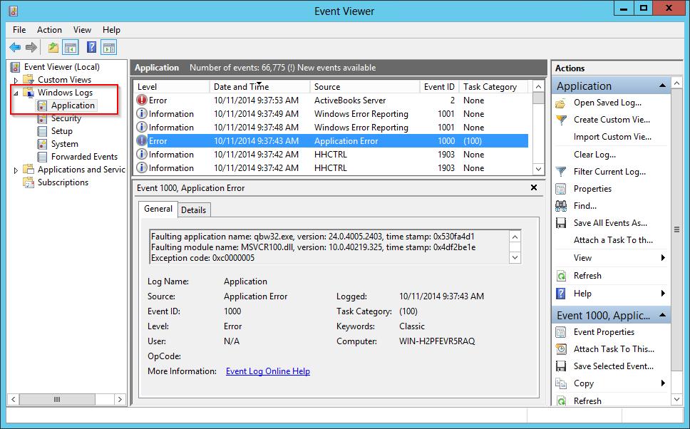 Event Viewer - Application Log