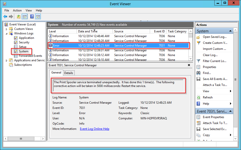 Event Viewer System Event