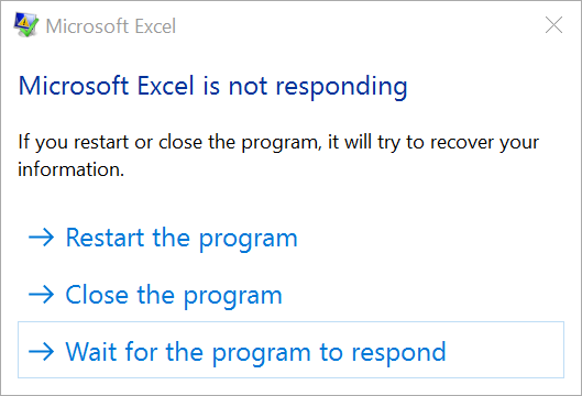 Excel Process Not Responding