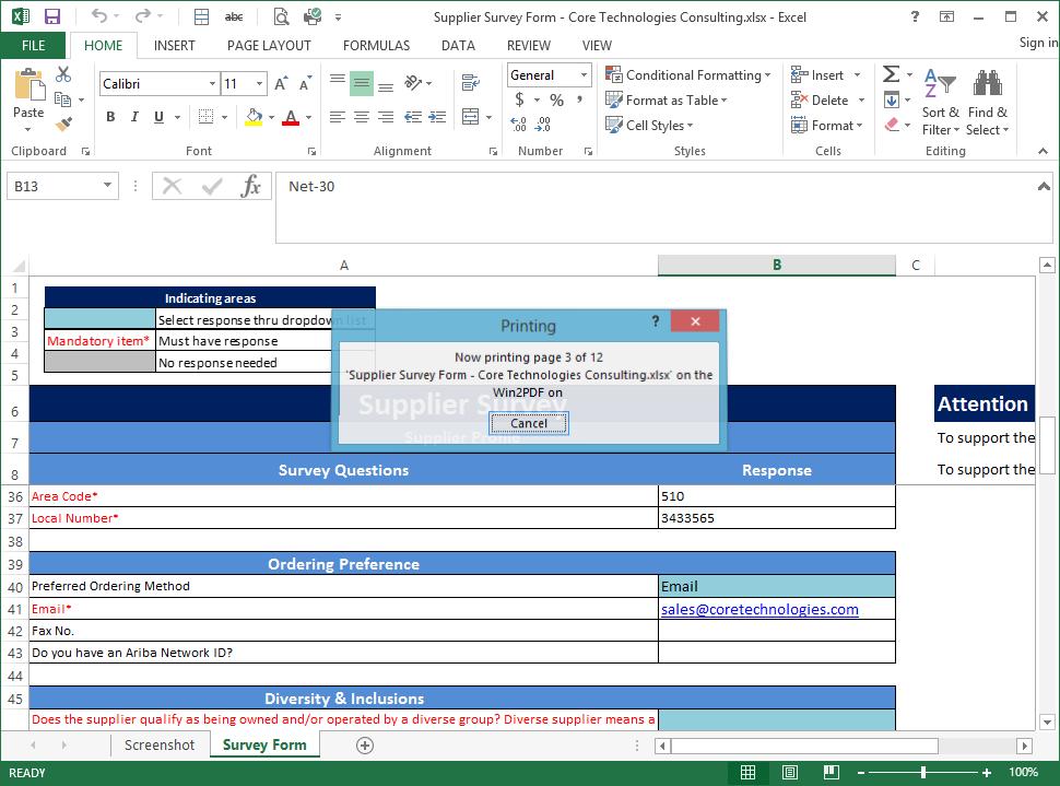 Excel printing/spooling