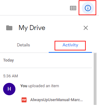 Google Drive activity