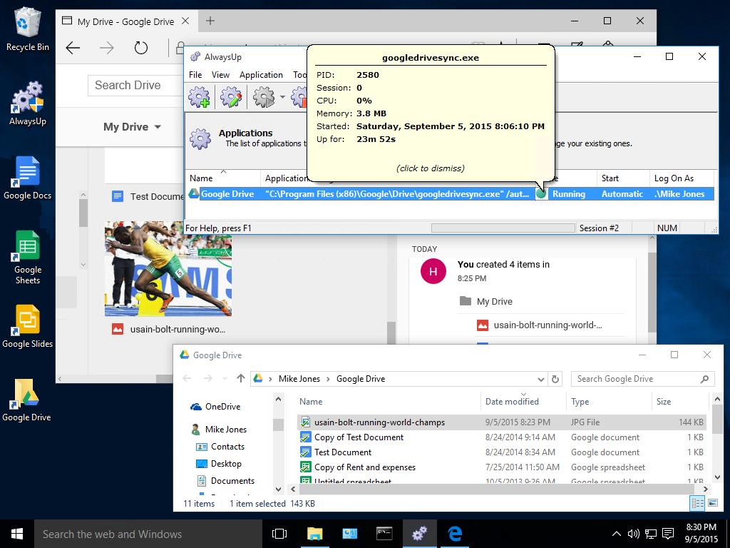 Google Drive running as a service on Windows 10