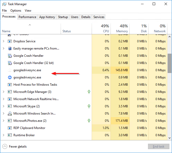 googledrivesync.exe in Task Manager