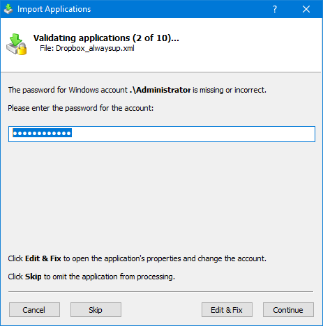 Import Applications: Enter Windows Password