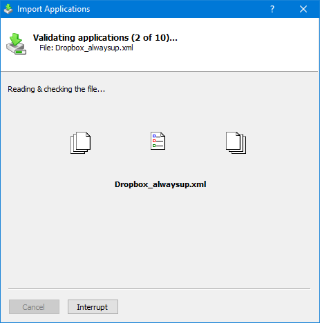 Windows Service Applications Import: Validating Dropbox