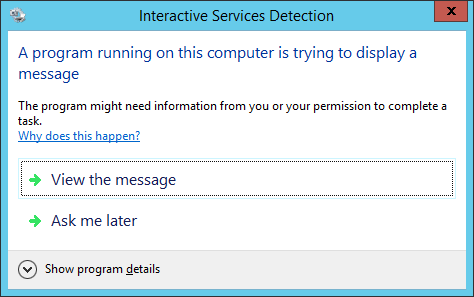 Interactive Services Detection prompt