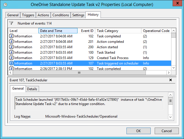 OneDrive Scheduled Task - History