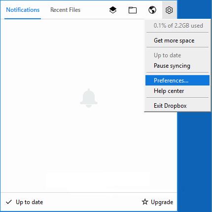 Open Dropbox preferences