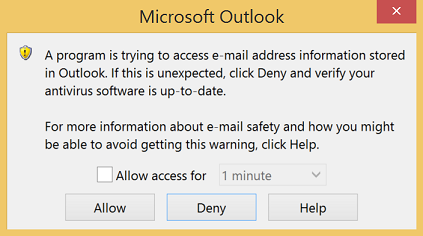 Outlook Security Popup
