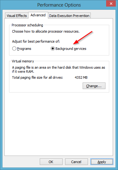 Windows Performance Options