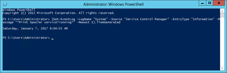 PowerShell - Windows Service Start Time