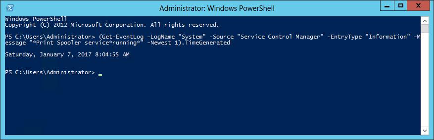 PowerShell - Windows Service Start Time