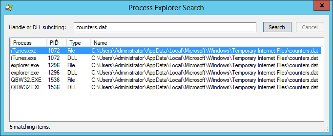 Process Explorer: Search