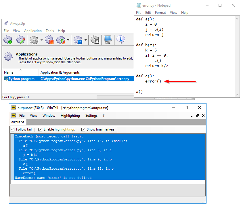 Python script: Traceback output