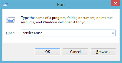 Starting services.msc from the Run Dialog