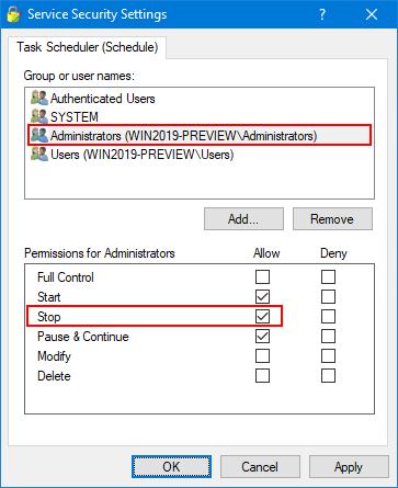 Schedule service - Add Stop permission