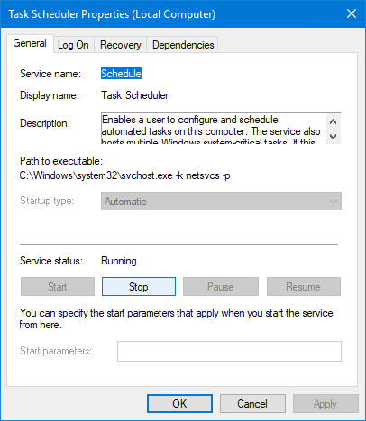 Schedule Windows Service: Stop button enabled