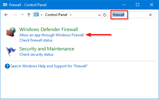 Search Control Panel for Windows Firewall