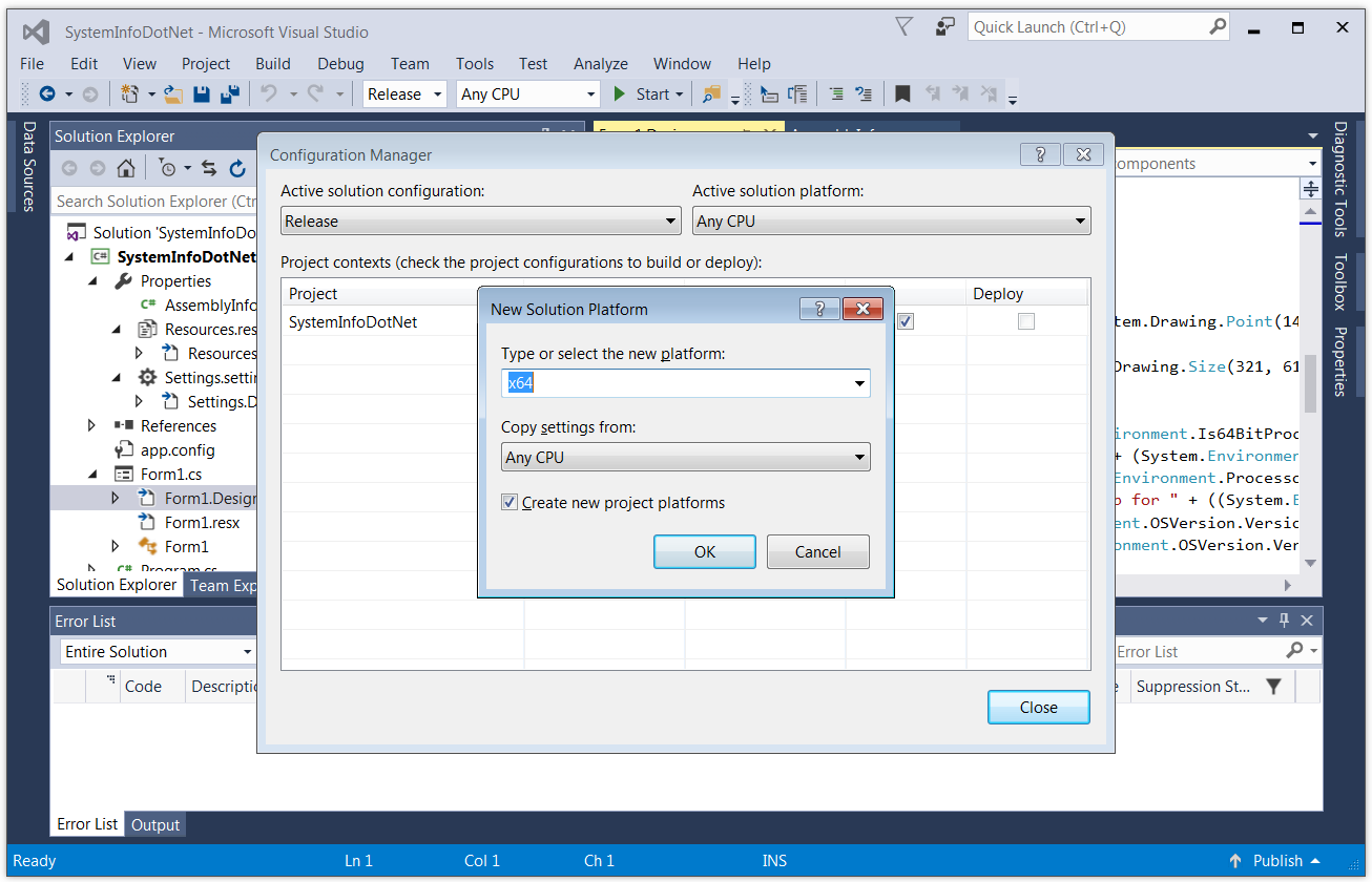 Create a New Visual Studio Configuration: Select x64