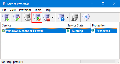 Easily restart protection from the toolbar
