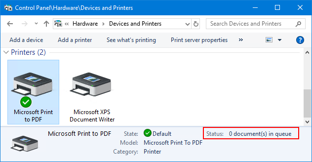 Spooler service running, printers connected